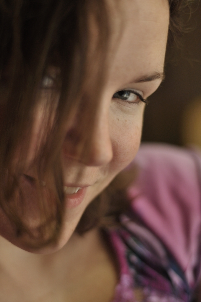 Face Girl Brown hair Smile Eyes Pretty