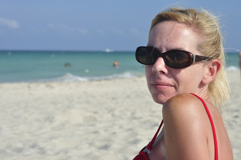 Girl Face Blonde hair White Bikini