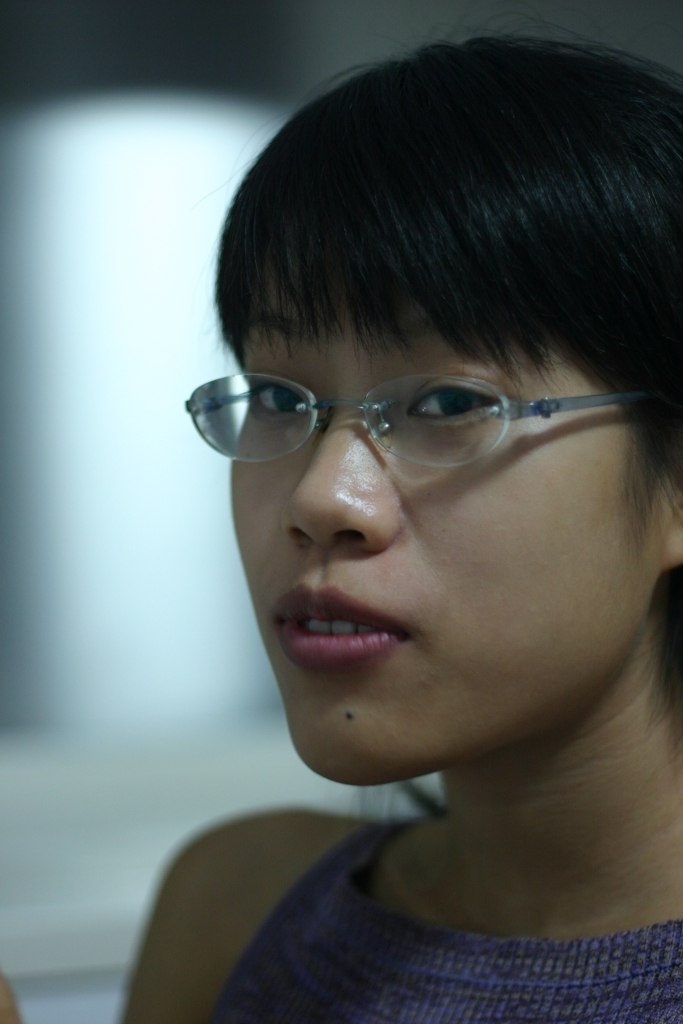 Girl Face Chinese Black hair Bangs Glasses Asian