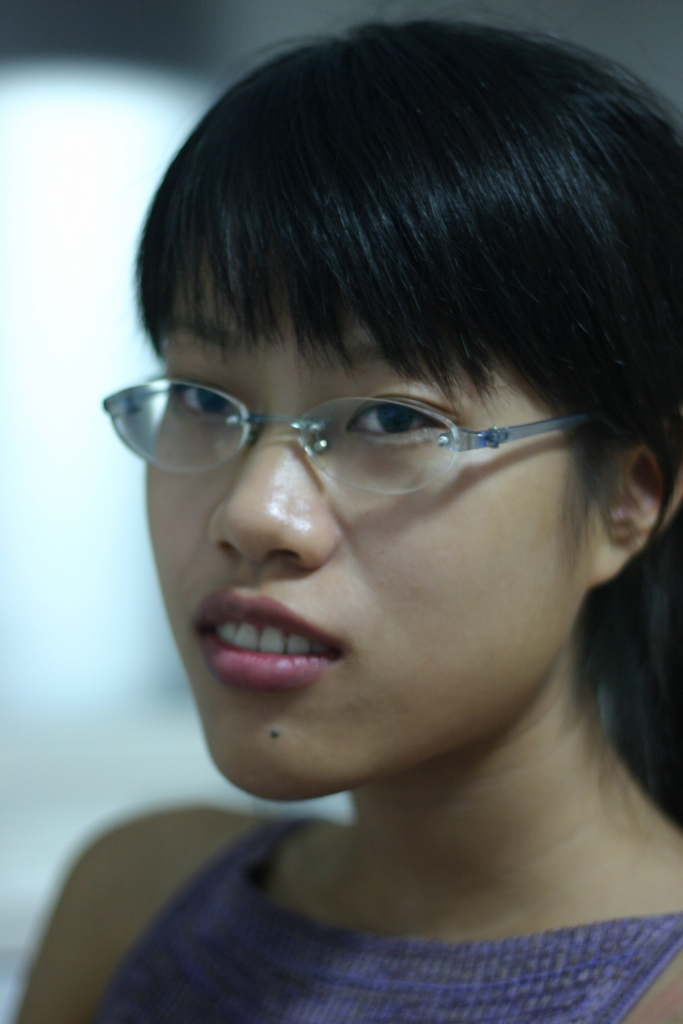 Girl Face Chinese Black hair Bangs Glasses Cute