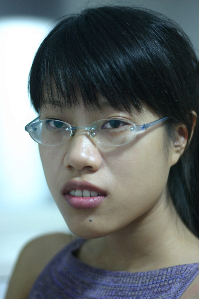 Girl Face Chinese Black hair Bangs Glasses