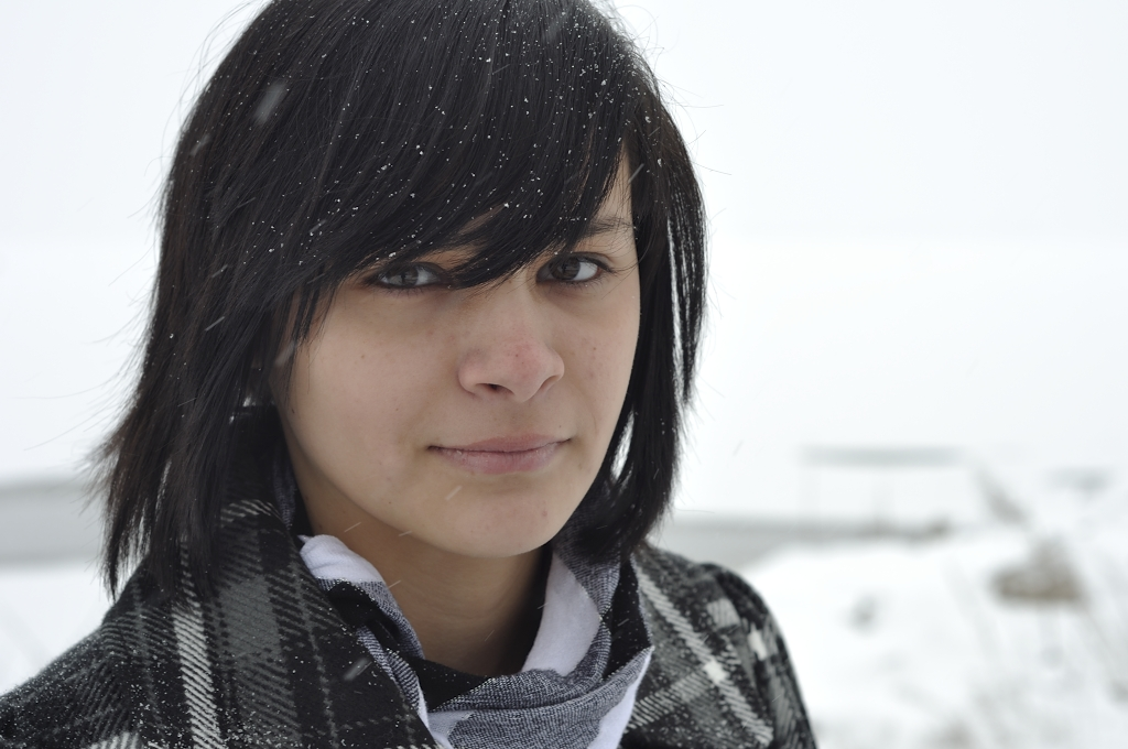 Girl Face Native American Indian Black hair Bangs Teenage Mexian