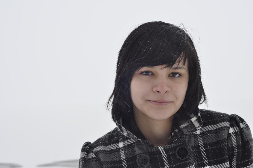 Girl Face Native American Indian Black hair Bangs Teenage