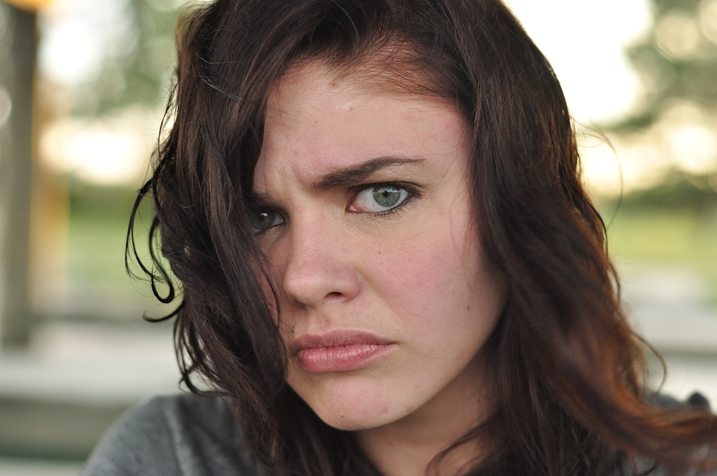 Model Brown hair Curly Medium hairstyles Angry Girl Face