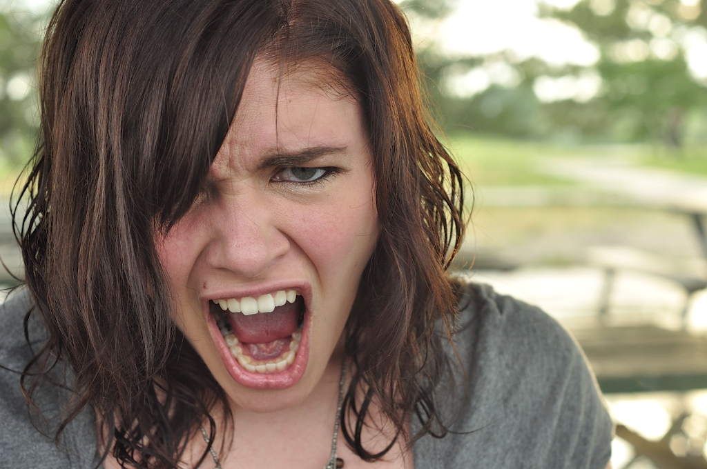 Model Brown hair Curly White Medium hairstyles Angry Girl Face