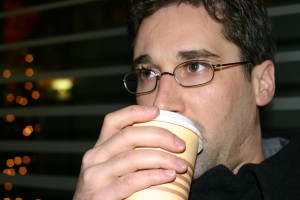 Hunter Hogan drinking coffee in Frankfurt