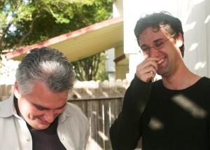 Dan Hogan and Hunter Hogan, laughing