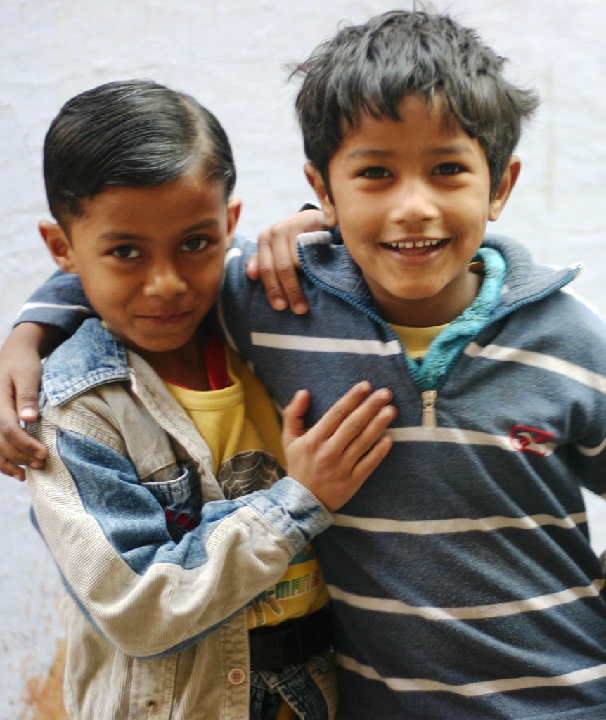 Two friends in Delhi, India